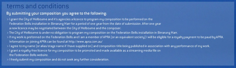 Federation Bells Terms and Conditions