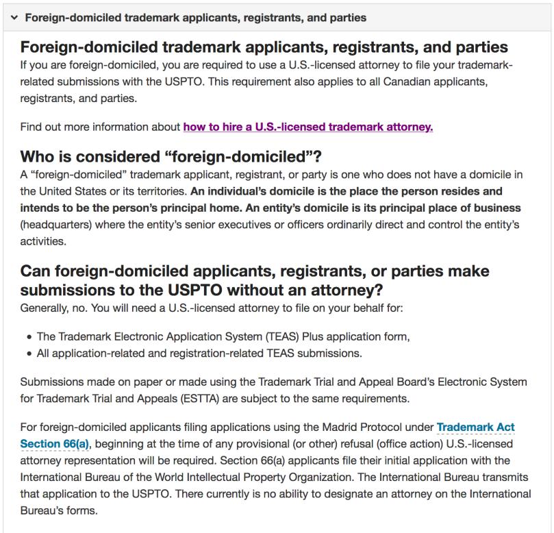 USPTO Trademark rule